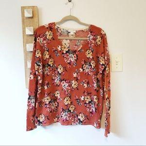 Garnet Hill Orange Floral Merino Wool Sweater